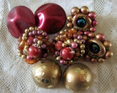 Vintage Jewelry Lot of Four Pair Beaded Clip Earrings Reds Golds Burgandy