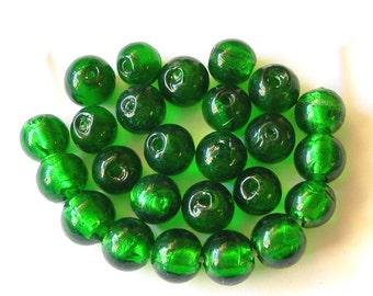 Green Lampwork Glass Beads 10mm (25)