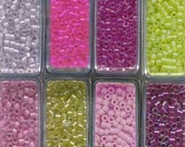 MIYUKI DELICA Mix Japanese Glass Seed Beads 11/0 in Flip Top Clear Storage Containers 8 boxes