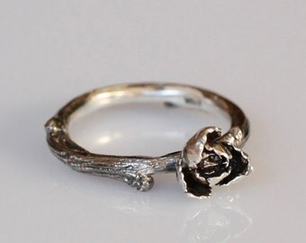 Rose and Willow twig ring, sterling silver, blackened twig and flower jewelry, made to order, your size