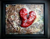 Steampunk Art, Key and Heart, Paper Mache, Mixed Media Framed Canvas