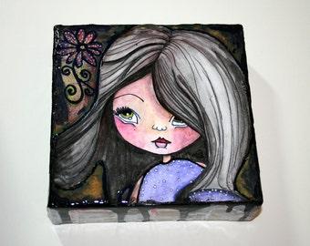 Mixed Media, Grunge, Big Eyed Girl, Mini Canvas, Art Original, Canvas Art, 6x6 Canvas