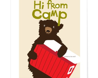 greeting cards hi from camp bear with cooler 5 x 7 inch note cards 4 to a set