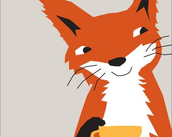 red fox portrait having tea 8 x 10 inch print in 11x14 mat
