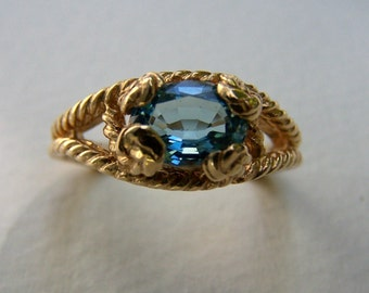 Blue topaz,14K Solid Gold  rope ring