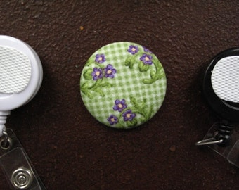 Purple Flower on Green Gingham Fabric Covered Button for Clip on Retractable Badge Reel