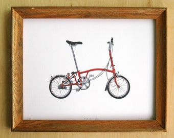 "Red Brompton Folding Bicycle - 9""x12"" Limited Edition Archival Print"