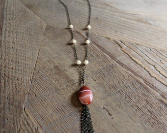 Orange Chalcedony Necklace- Long Necklace, Handmade Jewelry