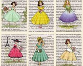 Paris Vintage Flower Ladies Postcards - Set of 12