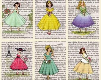 Postcards - Paris Vintage Flower Ladies  - Set of 12
