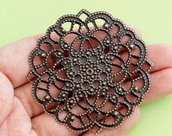 Sale 10pcs 56mm Antique Copper Filigree Pendants R0120-R
