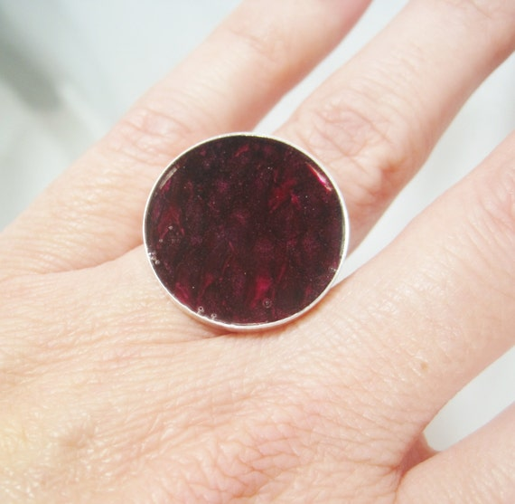 Deep Fuschia Pink Fish Leather Sterling Silver Christian Ring - Round Size 6 - HOOKED on JESUS Collection