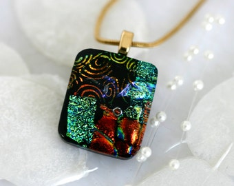 Square Layered Dichroic Fused Glass Pendant Necklace Jewelry 01120