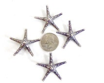 Large Pewter Starfish Pendant, Focal Bead, Charm - Silver Tone - Set of 4