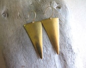 Raw Brass Triangle Earrings, Geometric Brass Dangle, Tribal Minimal Long Dangles, 14K Gold Filled Earrings