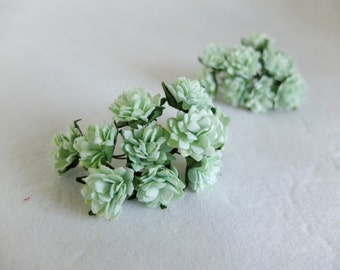 20 20mm mint paper flowers