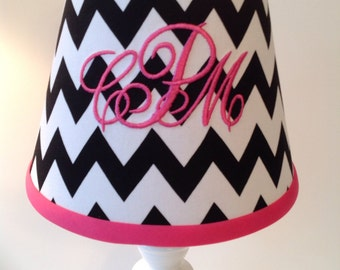 Chelsea Monogrammed Lamp Shade Black Chevron Hot Pink Accent