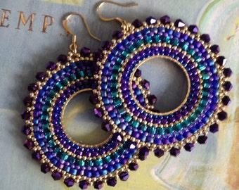 Beaded Hoop Earrings - Metallic Plum GODDESS Crystal and Seed Bead Earrings