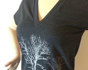 V Neck Tree Tee Gray XS,S,M,L,XL