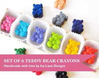 Kids' TEDDY BEAR CRAYONS Coloring Party Favors, Set of (6) Eco-Friendly Birthday Party Toys, For Boys & Girls, Free Gift Box