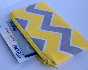 READY TO SHIP - Zippered Coin Purse Wallet - Fabric Business Card Holder - Yellow Grey Chevron Stripes