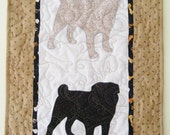 SALE ---Double PUG - Quilted Mini Dog Wall Hanging  16 x 25.5