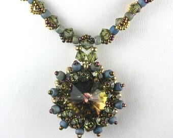 Khaki Olive Green Beaded Swarovski Rivoli Necklace with 14K Gold-Filled Toggle Clasp0