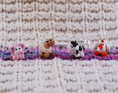 Farm Animal Mix knitting or crochet stitch markers - set of 4 - polymer clay