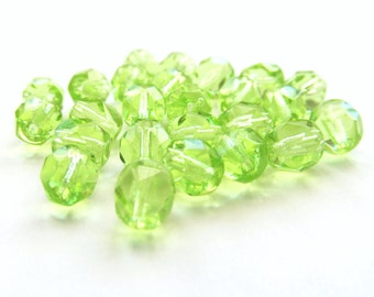 Lime Green Faceted Round Czech Glass Beads, 6mm - 25 pieces