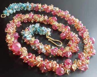 18k Sapphire and Topaz Necklace