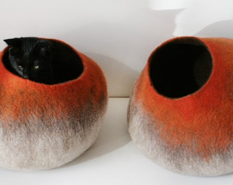 Cat Bed / Cave / House / Vessel - Hand Felted Wool - Beige To Orange Stone - Crisp Contemporary Design