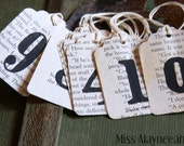 Hand Stamped Tags, Number Tags, Paper Ephemera, Gift Tags, Scrapbook Tags, Party Favors, Wedding Tags, Junk Journal, Project Life, Paper