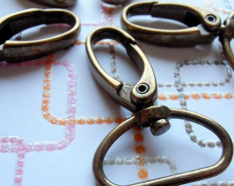 40 Swivel Spring Hooks - 2 inch long / 1 inch webbing capable (available in nickel and antique brass)