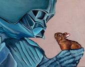 DIGITAL FILE - Darth Vader with small Brown Bunny from Original Acrylic Painting