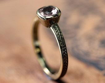 Pink morganite engagement ring cushion, braided engagement ring, wheat ring, gold braid ring, morganite ring gold, 14k gold ring, custom