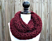 Thick Cowl Scarf Womens Knit Circle Scarf Polar Infinity Cowl Oxblood Red Burgundy Scarf - Chunky Scarf Womens Accessories Fall Fashion