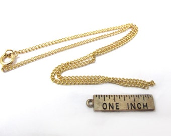 Vintage Gold Plated Curb Chain Necklace Findings (4X) (14 inches) (C503)