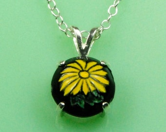 Vintage Black Glass with Yellow Flower Button Necklace
