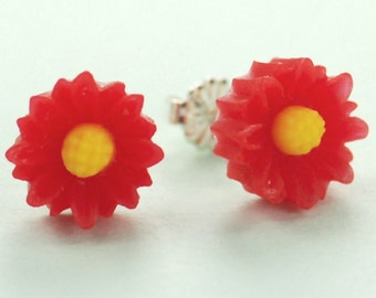 Little Red Daisy Button Post Earrings 11mm