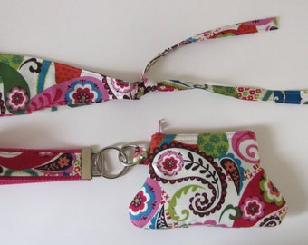 Wristlet and Hair Tie Set in Cotton Fabric
