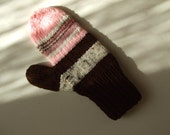 Handknit Mittens - Chocolate and Strawberries - For Women and Teens