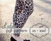 Ladies Basic Leggings - INSTANT DOWNLOAD - xs through xxxl, 3 length options shorts, capri, full  - pdf sewing pattern