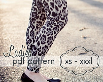 Ladies Basic Leggings - INSTANT DOWNLOAD - xs through xxxl, 3 length options shorts, capri, full  - pdf sewing pattern