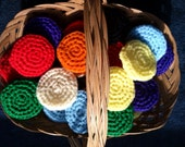 Crocheted Nylon Scrubbies / Assorted Colors/ Set of  THREE/ Pot Scrubbers