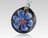 Cremation Pendant Glass Flower Water Lily Necklace Borosilicate Boro Lampwork Memorial Ash, Hand Blown Glass Jewelry - Love Lily