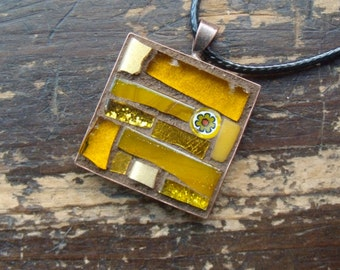 November Topaz Inspiration Mosaic Pendant in Yellow Ochre