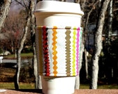 Fabric coffee cozy / cup sleeve / coffee sleeve  - Vintage RicRack