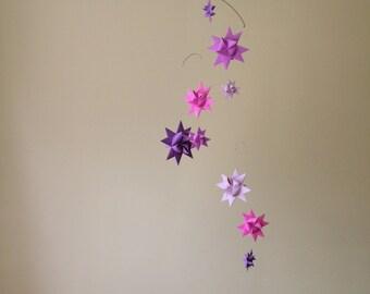 Baby Crib Mobile Origami Paper Stars -'Carina' Purple Shades