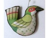 Green Bird Ornament--  Original Folk Art Doll-- Printed, Sewn, and Stuffed Fabric