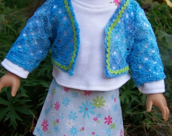 American Girl Doll Clothes - 3 Piece Skirt Shirt and Cardigan - Floral